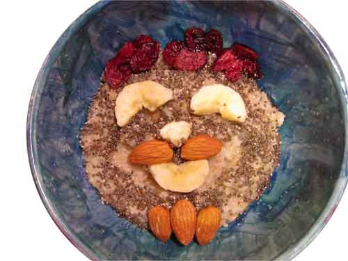 Self Portrait | Materials (Oatmeal, Fruit, Nuts and Chia Seed)