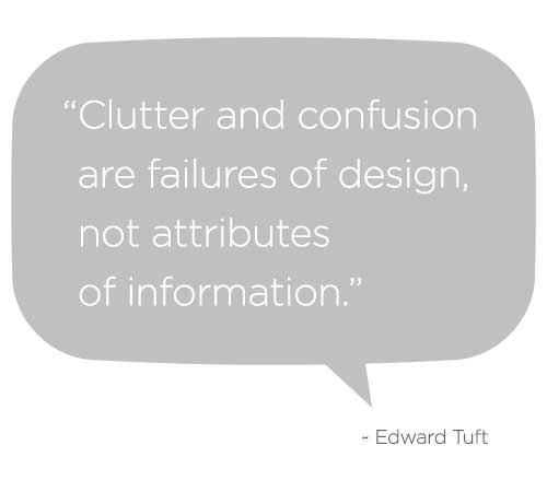 Clutter and confusion are failures of design, not attributes of information. - Edward Tuft