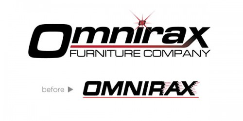 Omnirax logo - before & after