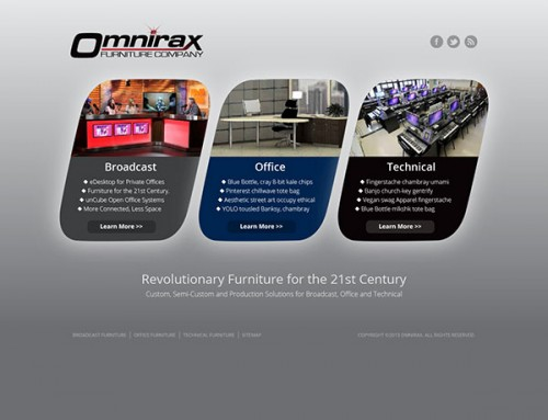 Omnirax Corporate - entry page to subsites